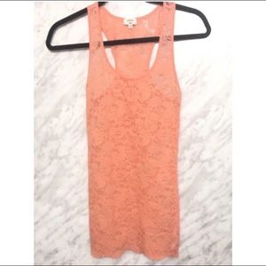 Aritzia Wilfred Lace Racerback Tank Coral X-Small